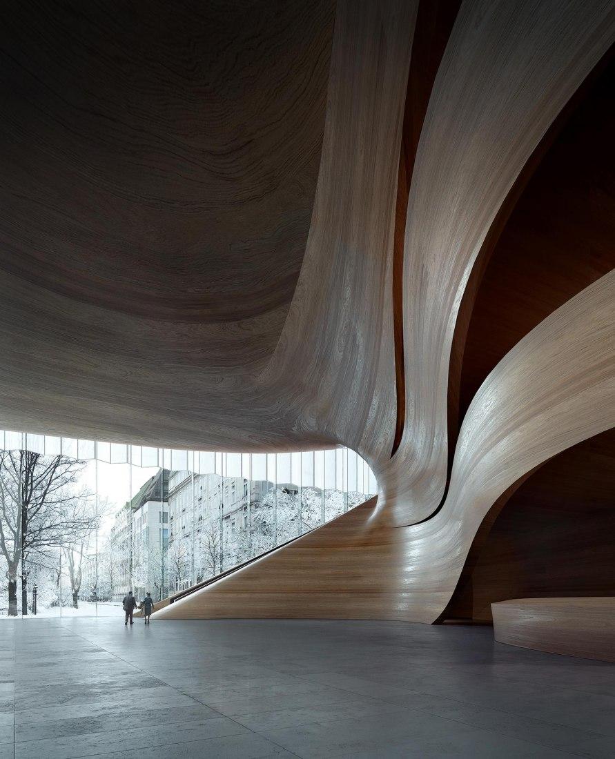 New Opera House for Düsseldorf by Snøhetta. Rendering by MIR