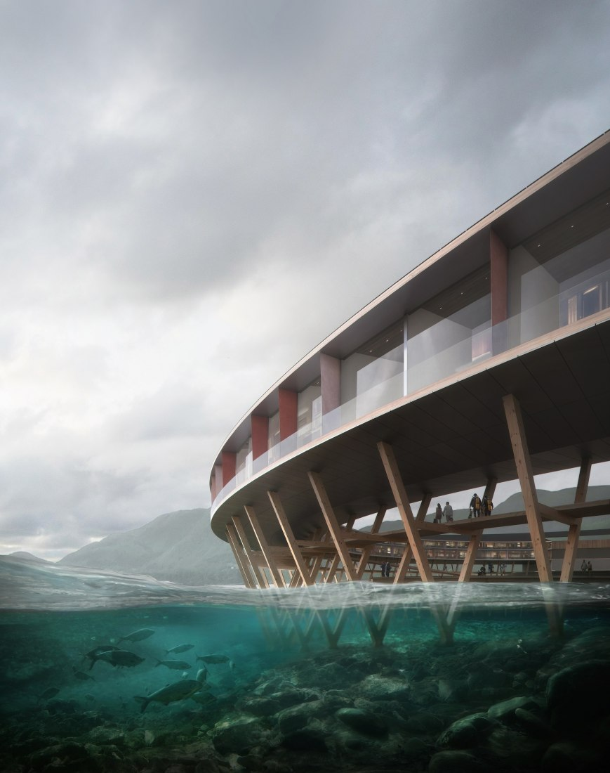 Rendering, A-shaped wooden structure used for drying fish. Svart Hotel by Snøhetta. Image © Snøhetta/Plompmozes
