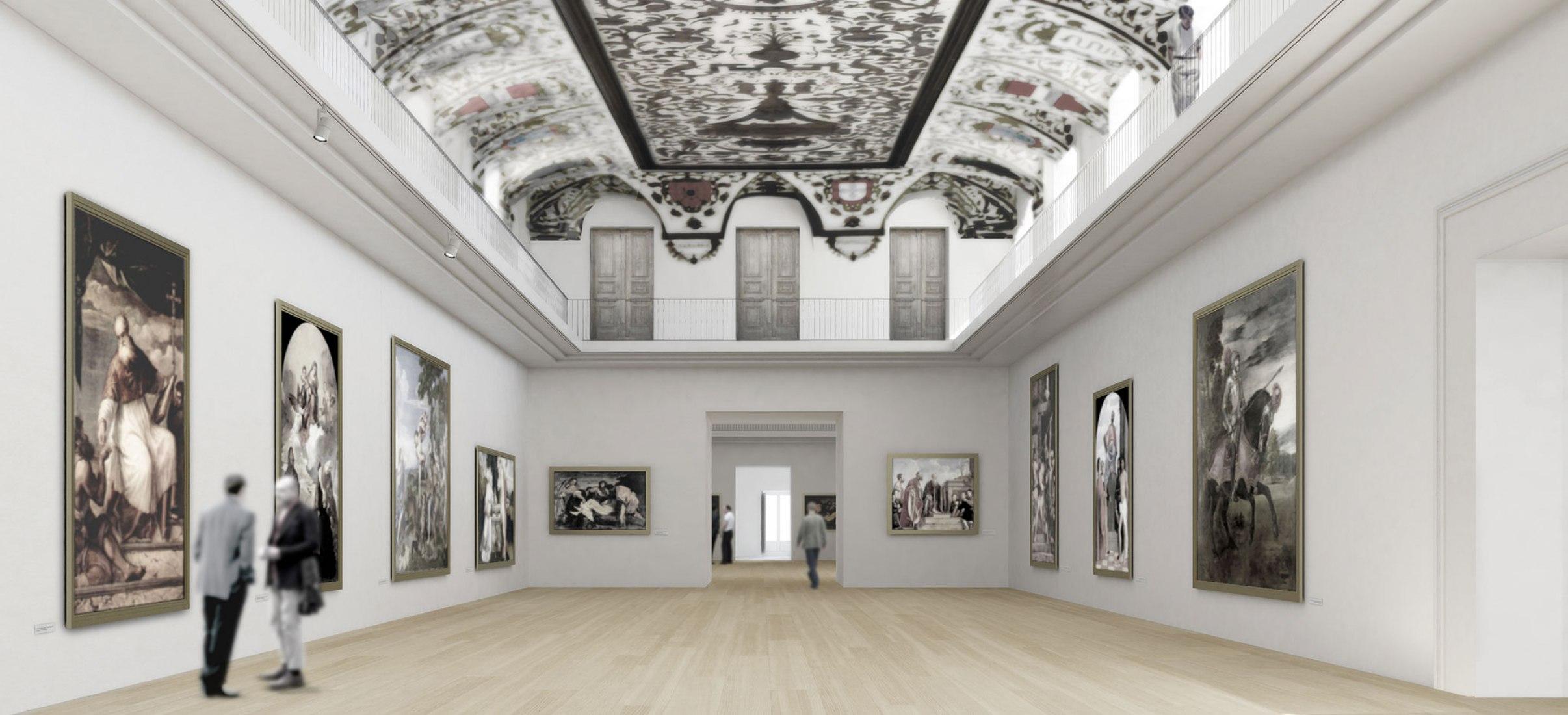 Interior. Proposal by Souto Moura Arquitectos and Juan Miguel Hernández León and Carlos de Riaño Lozano for the enlargement of El Prado Museum. Image courtesy of Souto de Moura.