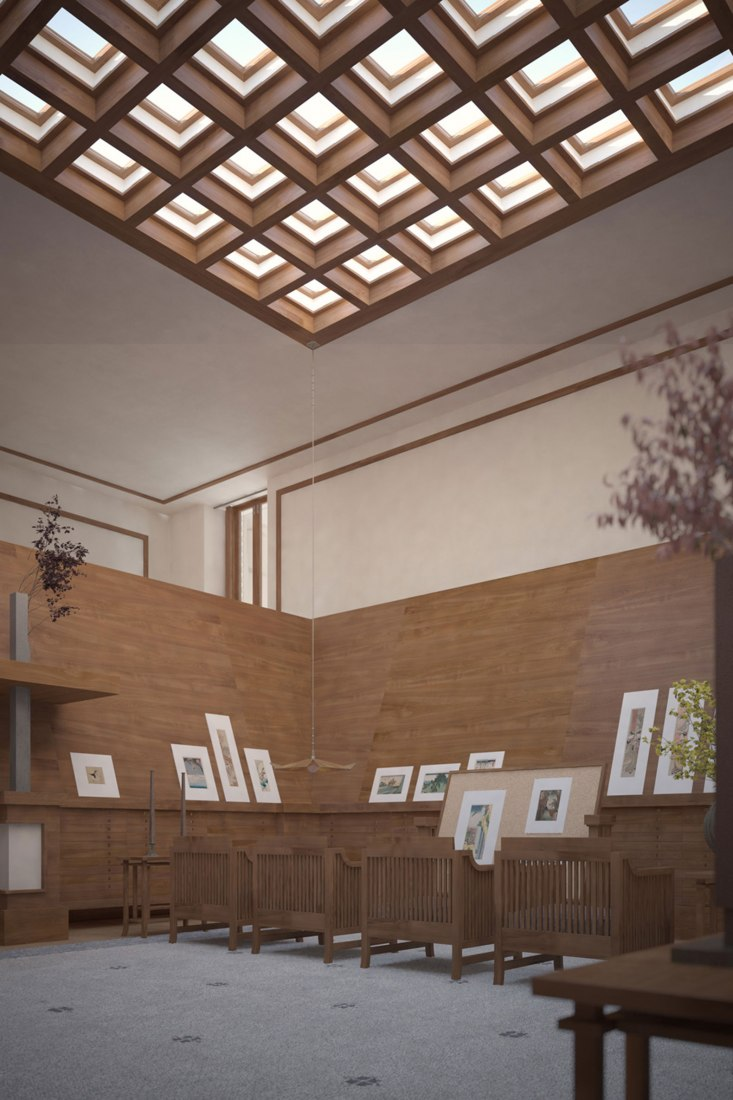 Spaulding Print Room by Frank Lloyd Wright. Rendering by David Romero