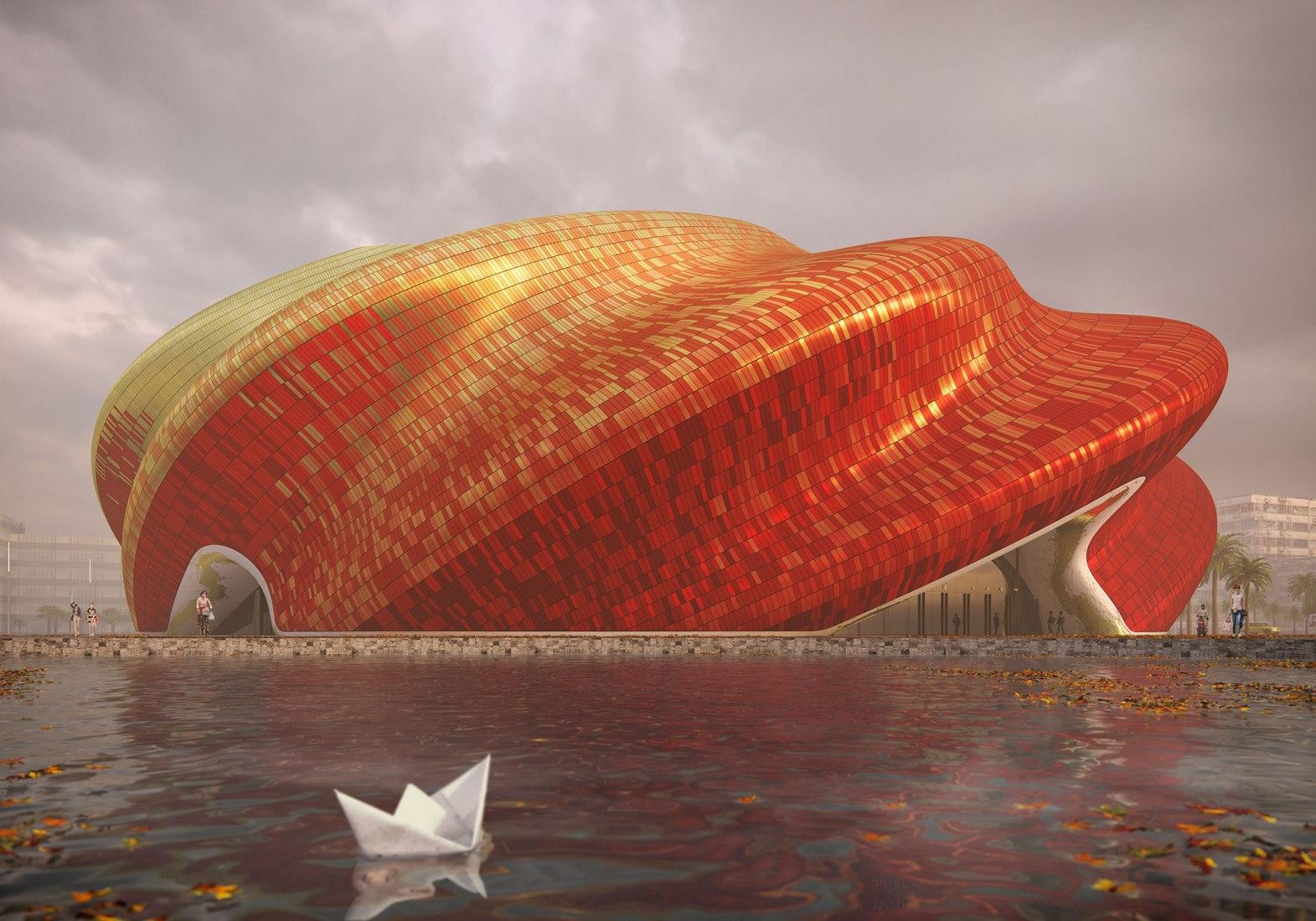 Visualización. Teatro Guangzhou Yue por Steven Chilton Architects