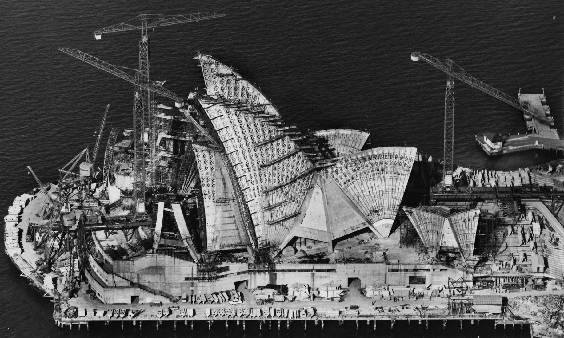 'Made possible by fiendishly complex maths' ... Sydney Opera House under construction in 1966. Photograph: Robert Baudin for Hornibrook Ltd, courtesy Australian Air Photos