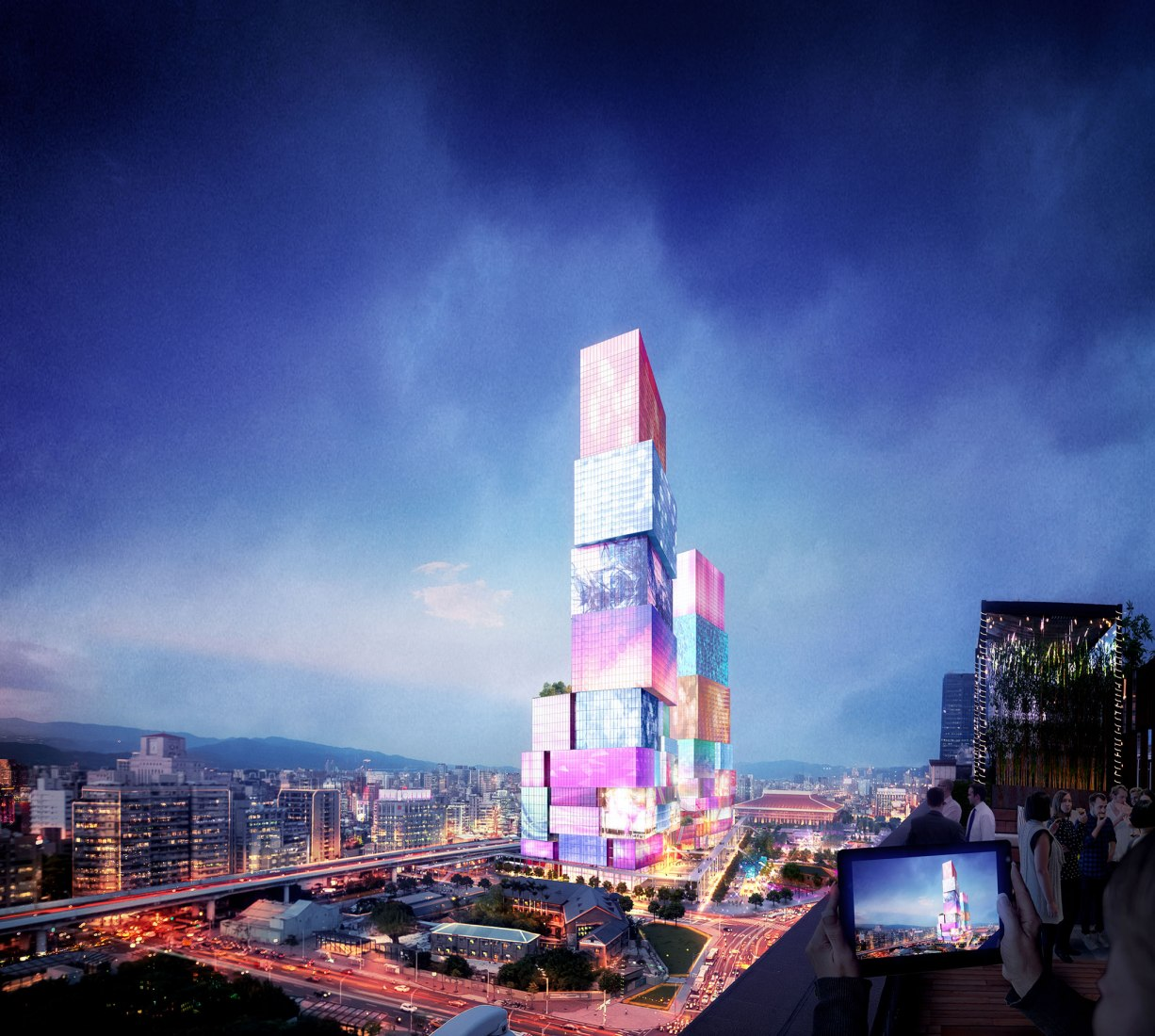 Rendering. Taipei Twin Towers by MVRDV. Image courtesy of MVRDV
