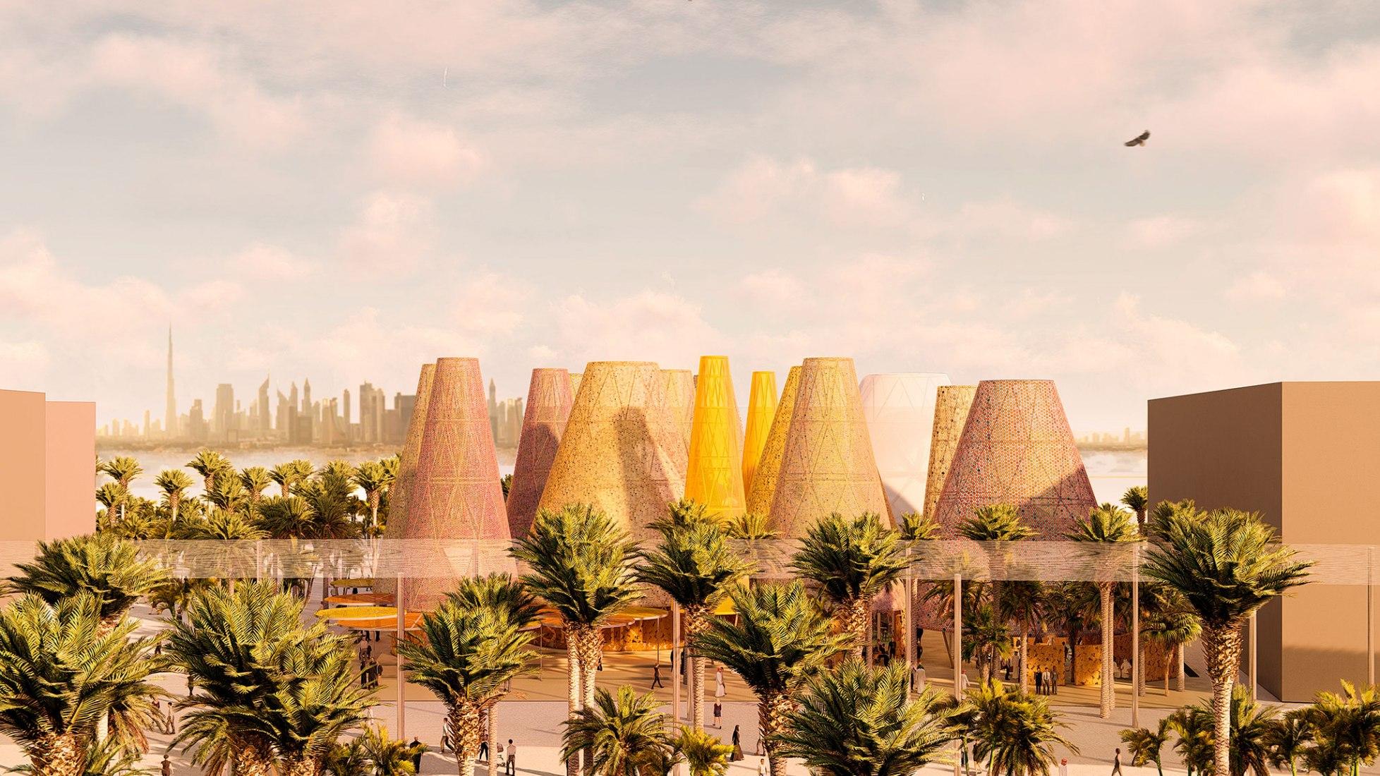 Vista desde lejos. Pabellón de España en la Expo Dubai 2020 por Amann-Canovas-Maruri