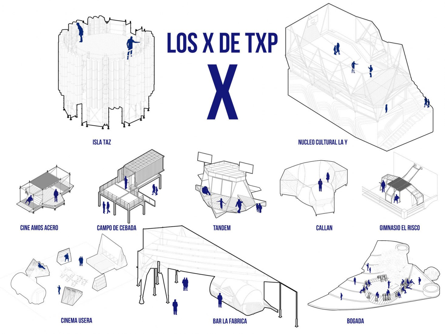 Axonometric of the proyects. Ten years of Todo Por la Praxis. Image courtesy of architects