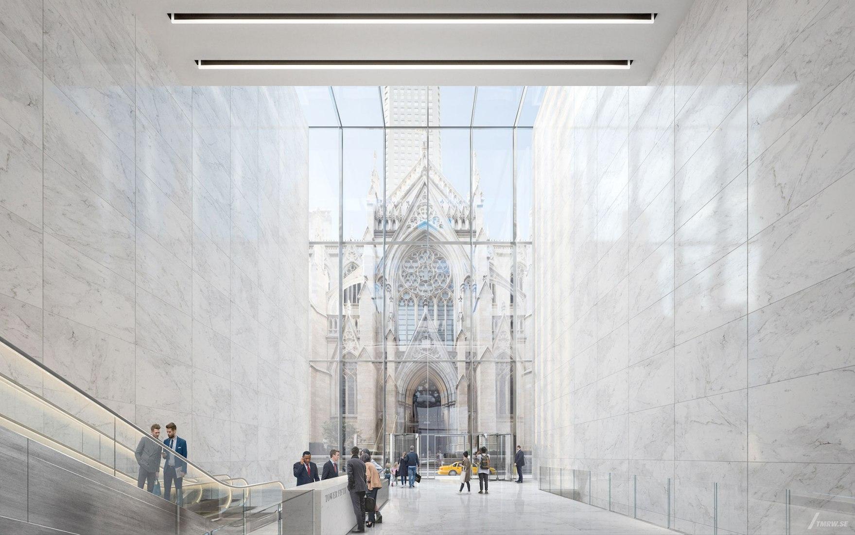 El vestíbulo de la Tower Fifth/Torre Quinta enmarcaría la entrada a la catedral de San Patricio. Visualización de Tower Fifth por TMRW, cortesía de Gensler para Macklowe Properties
