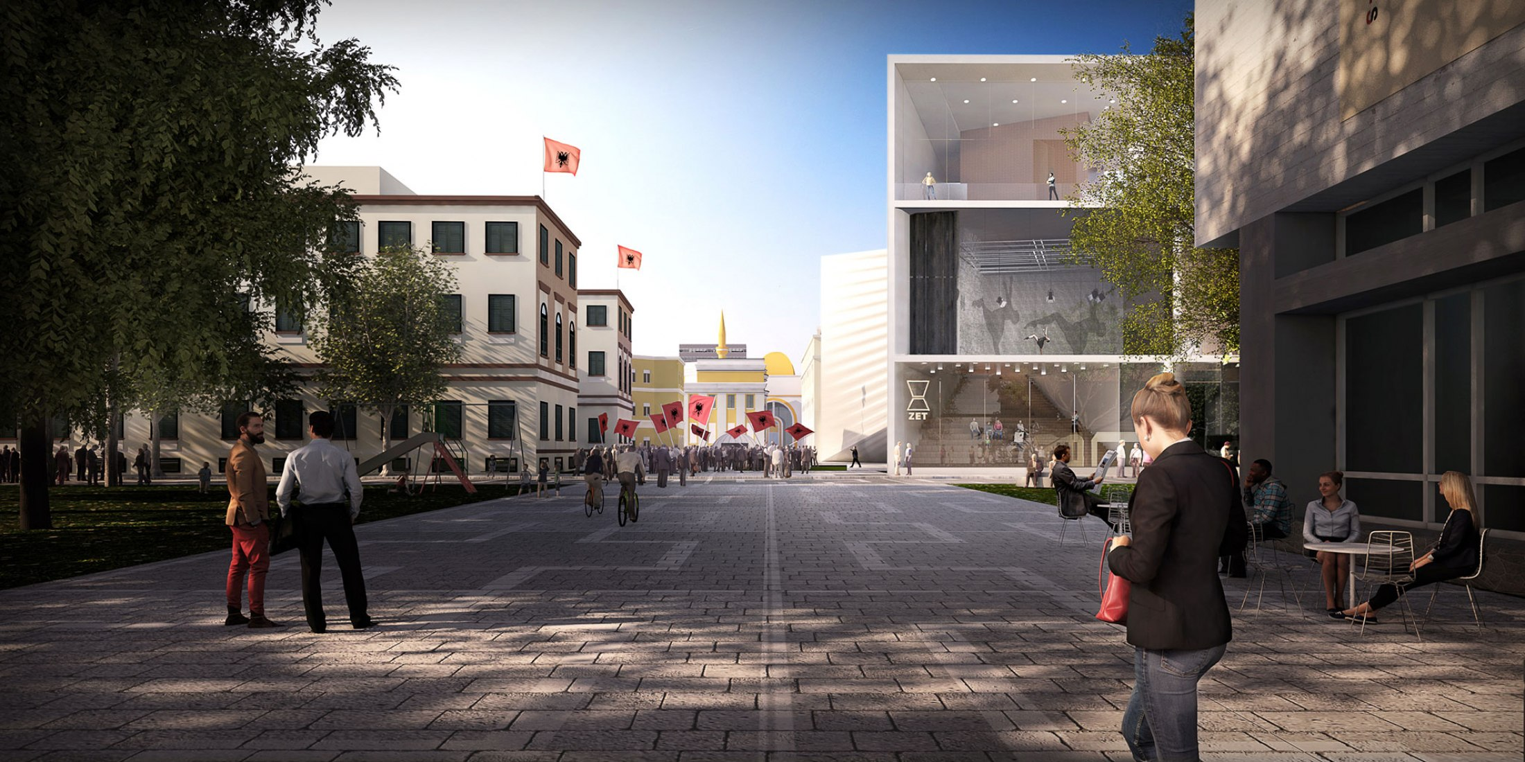 Exterior view. BIG wins the competition for the Tirana National Theater and Master Plan. Image courtesy of BIG - Bjarke Ingels Group