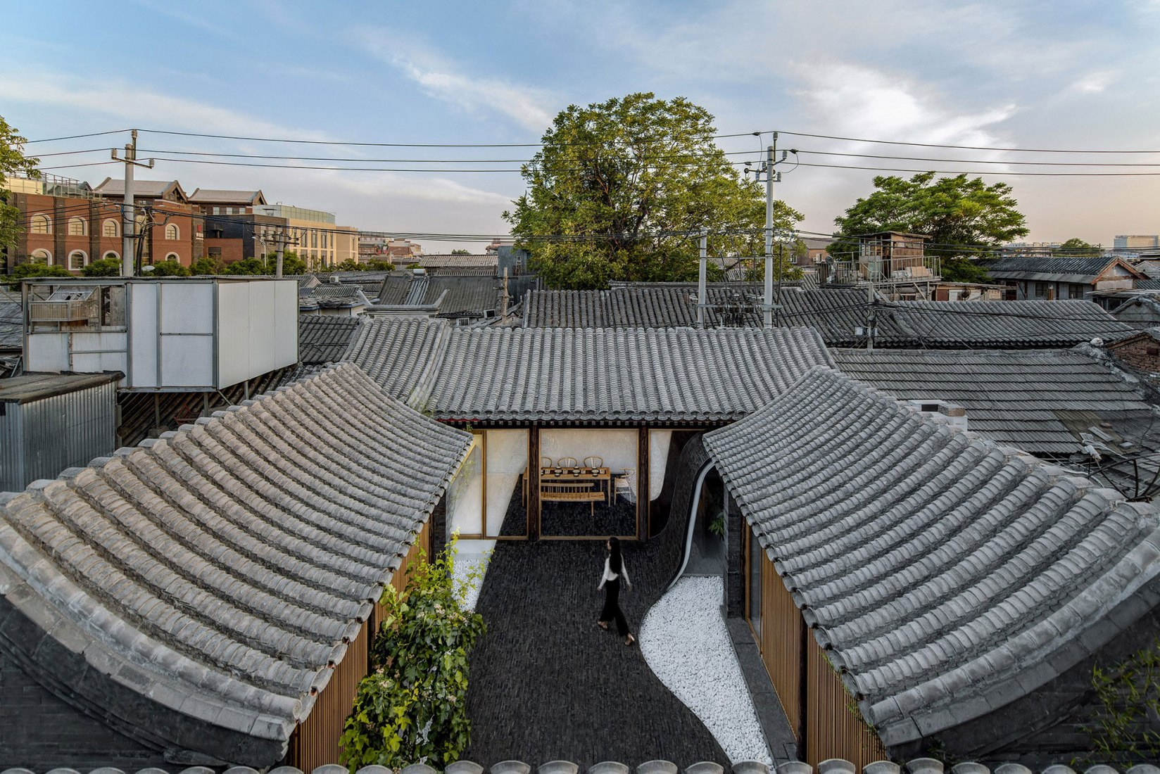 Vista general. Patio plegado por Archstudio. Fotografía © Wang Ning & Jin Weiqi.