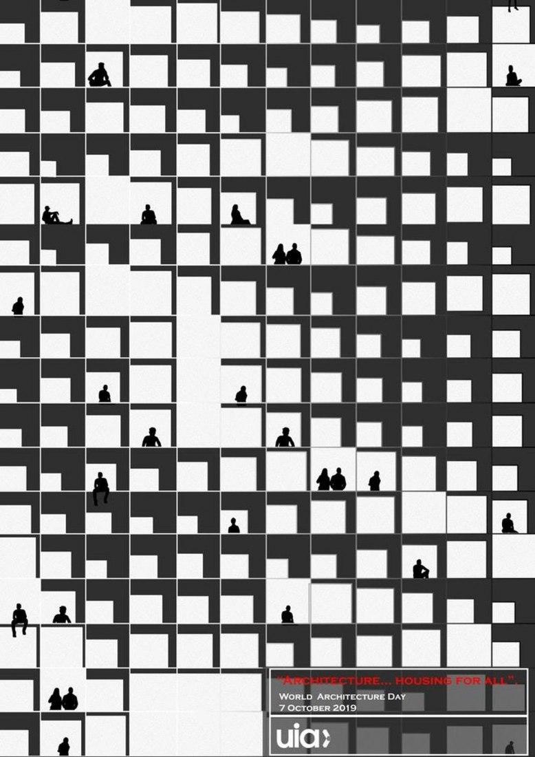 Cartel del día mundial de la arquitectura por Huda Gharandouqa