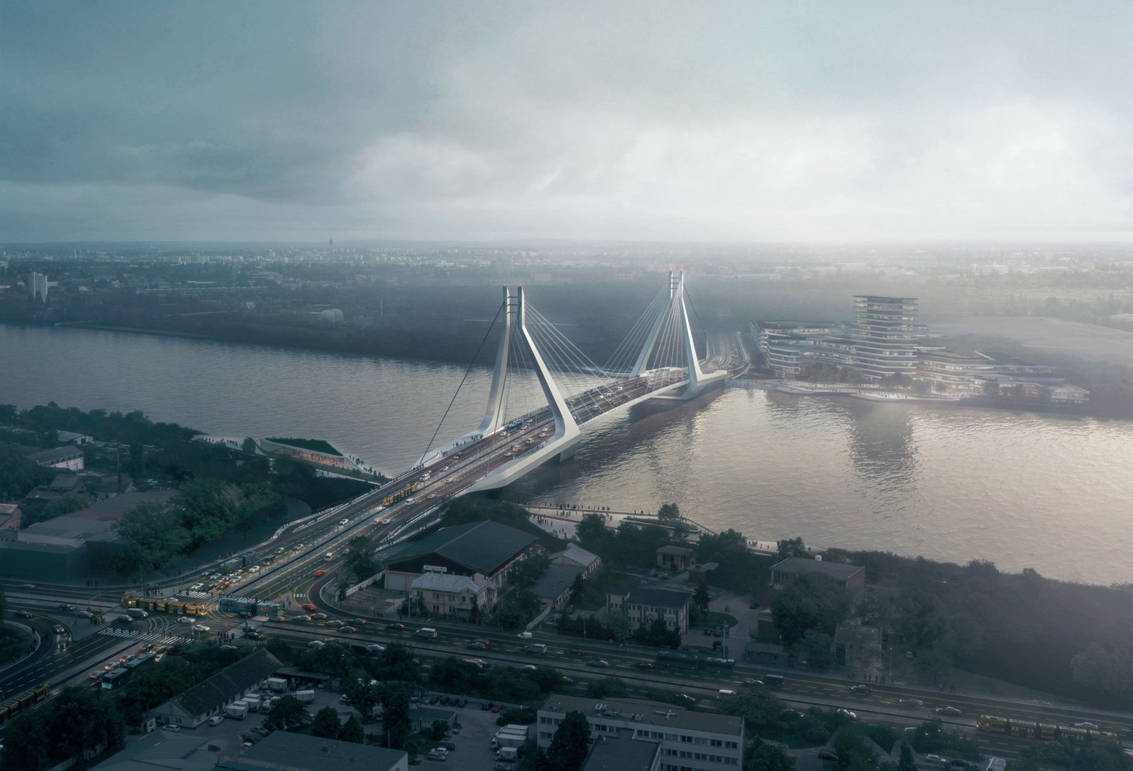 Overview. New Budapest Bridge project by UNStudio. Image by VA Render, courtesy of UNStudio