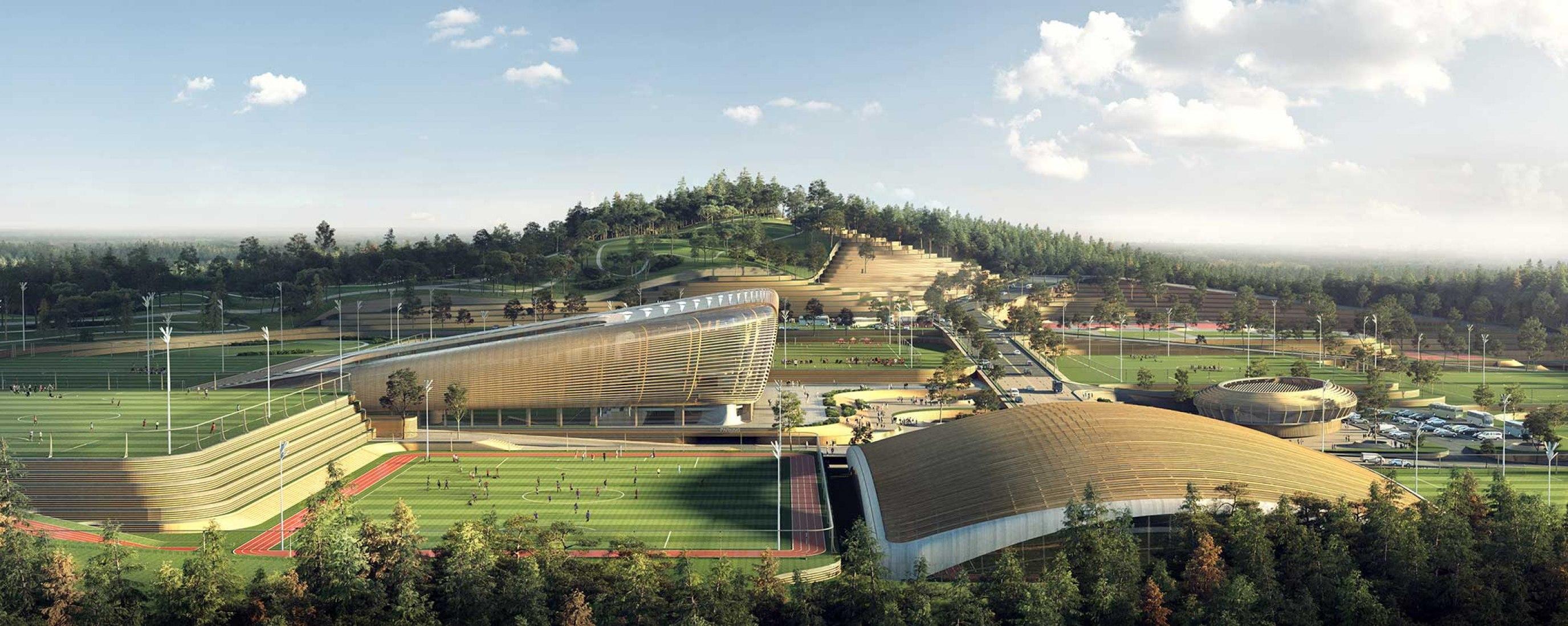 Centro Nacional de Fútbol Coreano por UNStudio. Visualización por Brick Visual