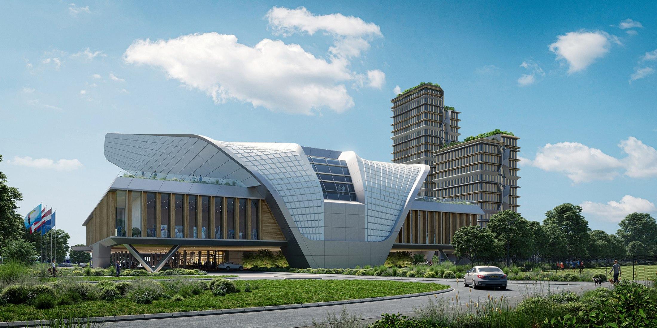 Visualización. Centro de Congresos Elysion por UNStudio y Quant Architectuur. Visualización por Flying architecture