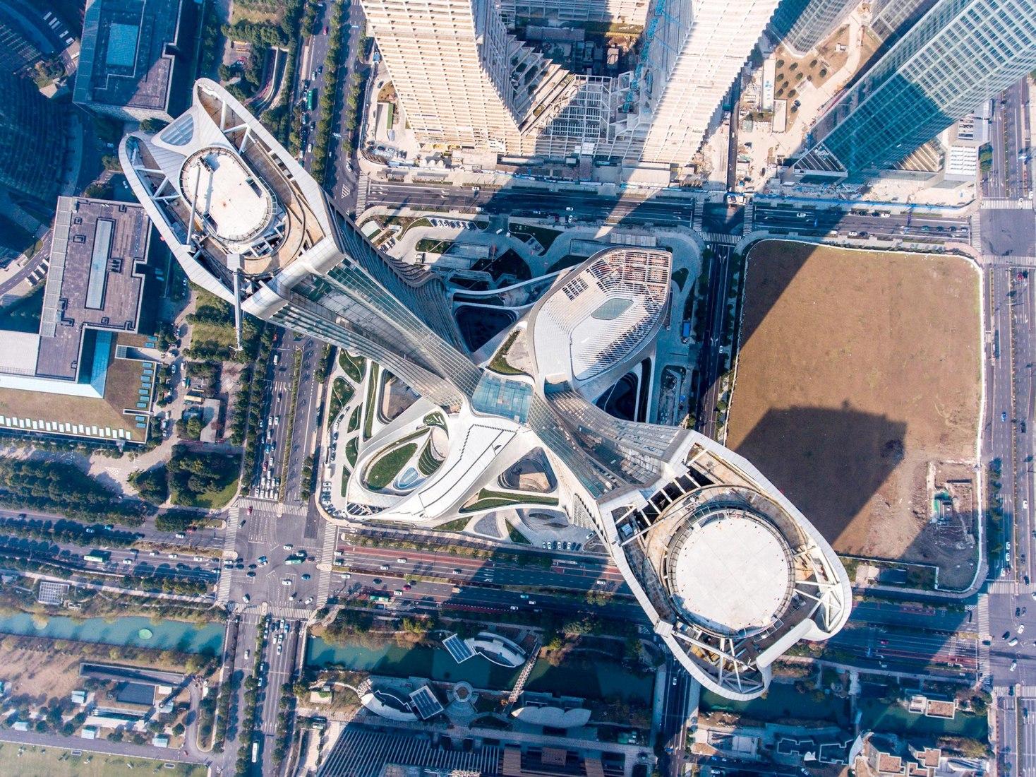 Vista general. Complejo de Raffles City Hangzhou por UNStudio