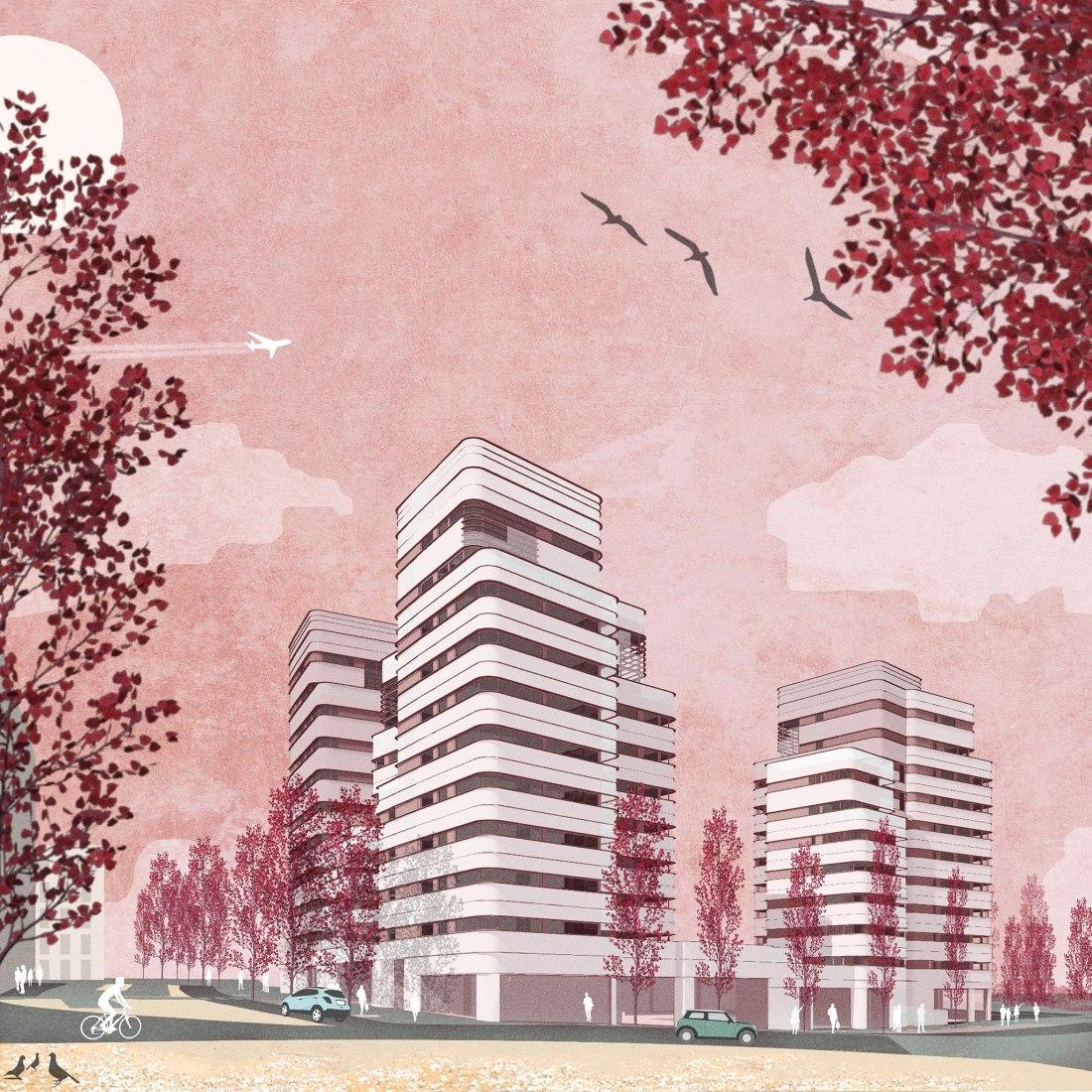 Exterior rendering. 67 dwellings in Valdebebas by Amann, Cánovas, Maruri