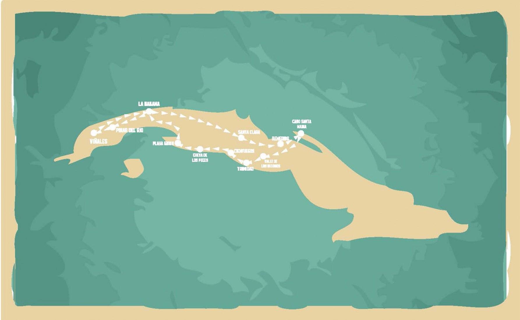 El viaje a Cuba de Felipe Pich. Mapa de Cuba con la trayectoria realizada. Imagen © Felipe Pitch.
