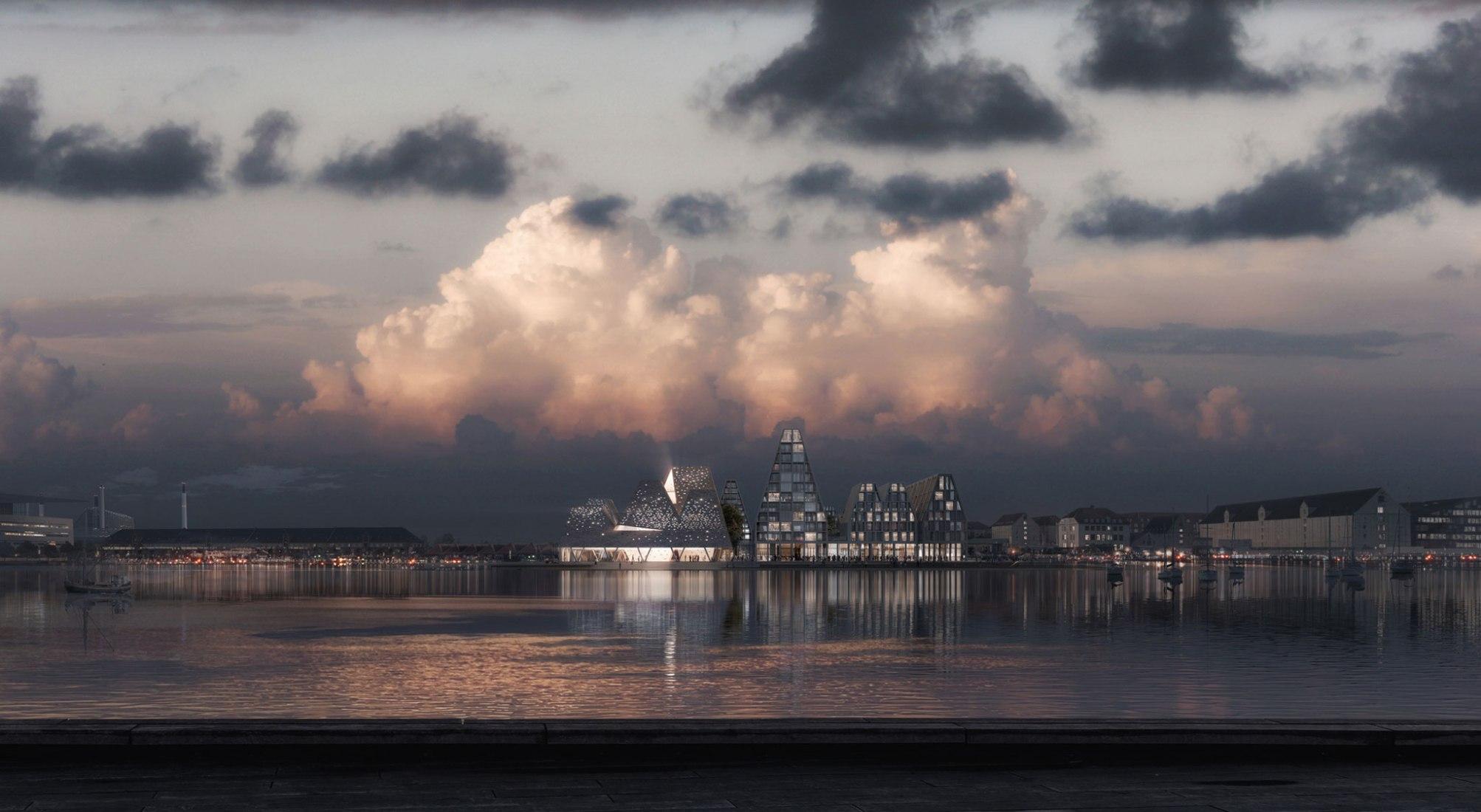 Kengo Kuma & Associates presenta las primeras ideas para el nuevo centro acuático en el paseo marítimo de Copenhague. Cortesía de Kengo Kuma & Associates