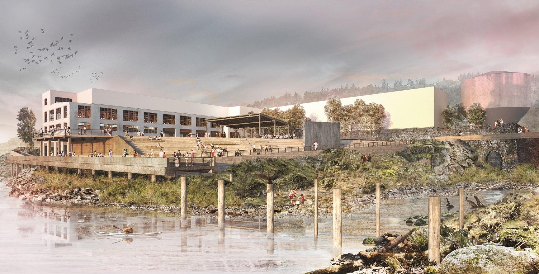 Render. Snøhetta design the public spaces that will allow visitors to rediscover Willamette Falls Riverwalk. Image courtesy of Snøhetta