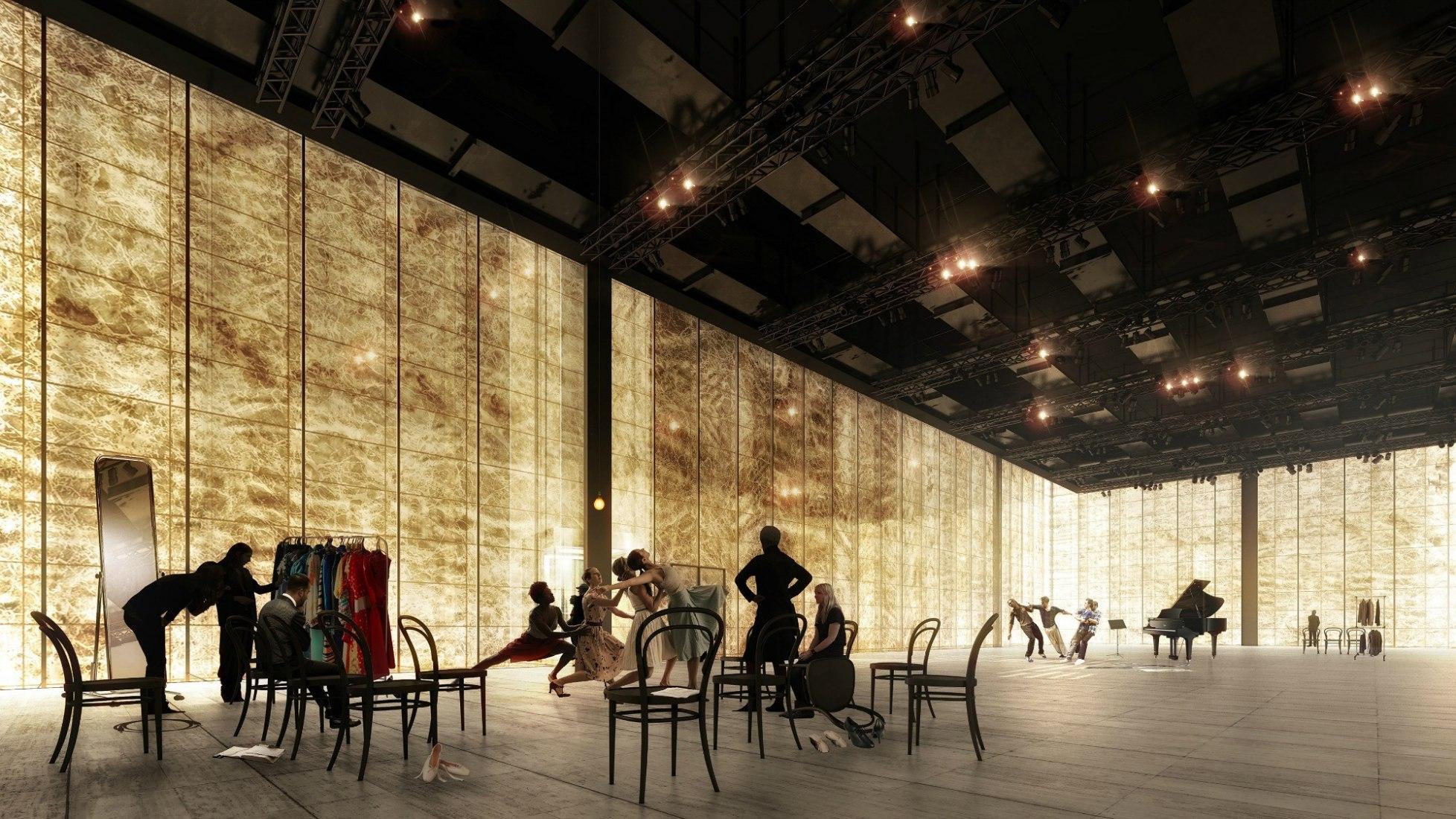 Sala de ensayos. Visualización. Centro de Artes Escénicas World Trade Center por REX. Fotografía © LUXIGON.