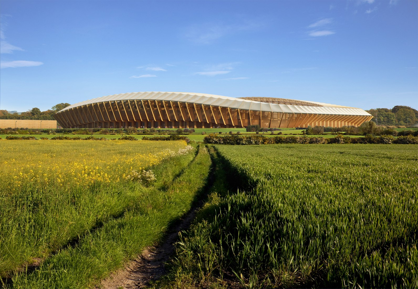Visualización exterior. Estadio para el Forest Green Rovers FC por Zaha Hadid Architects.