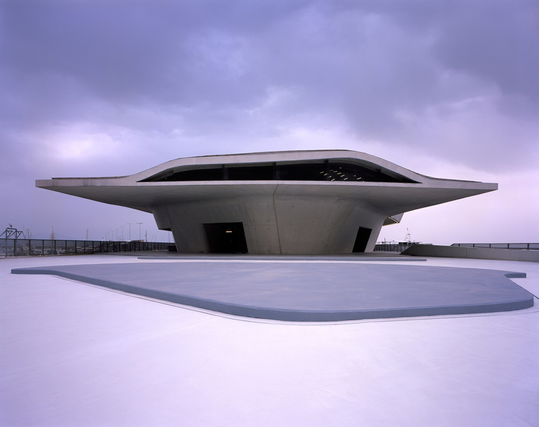 Outside view. Salerno Maritime Terminal by Zaha Hadid Architects. Photograph © Helene Binet.