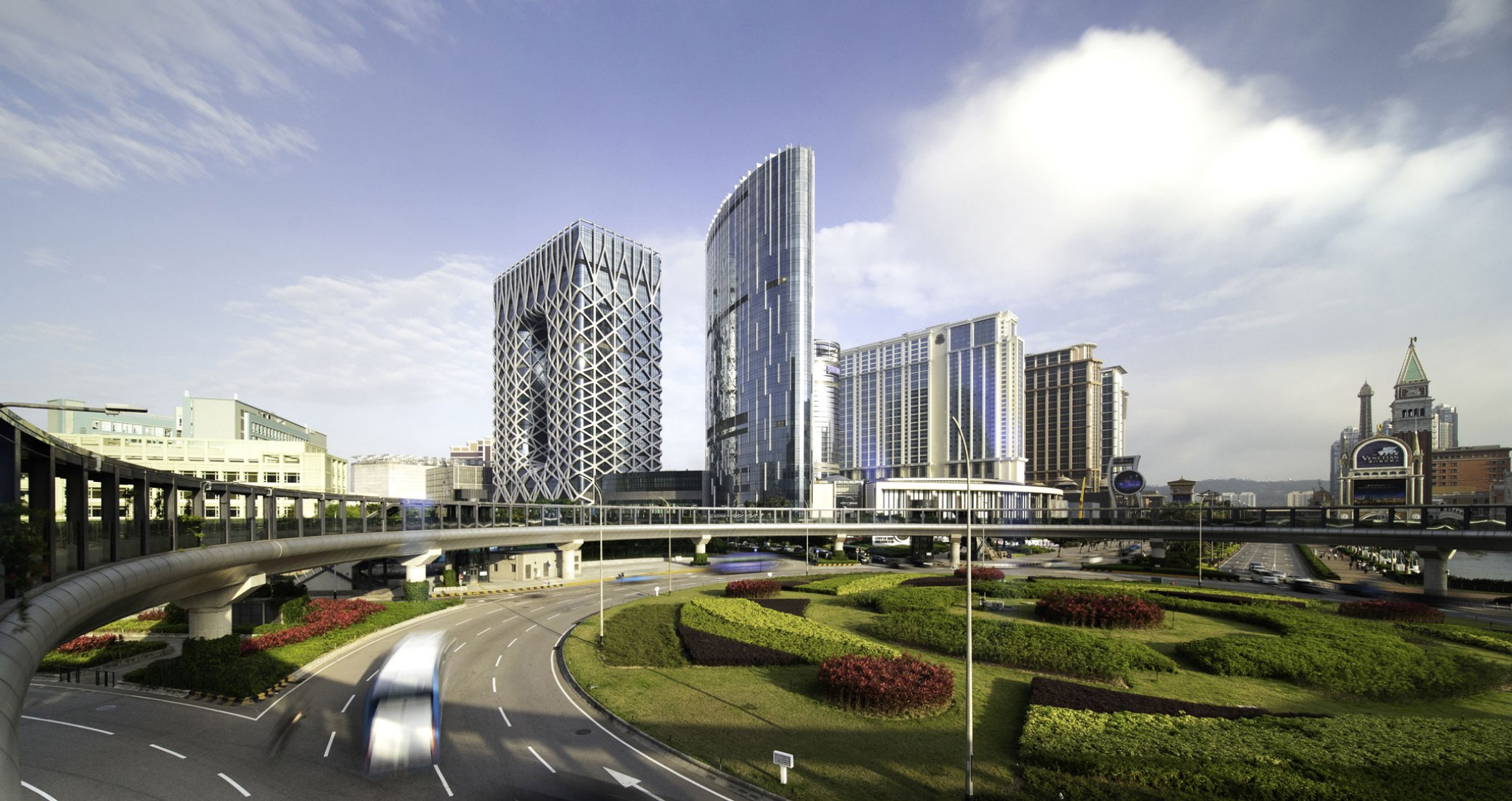 Exterior view. Morpheus, a new flagship hotel for the City of Dreams resort in Macau by Zaha Hadid Architects. Photograph © Ivan Dupont
