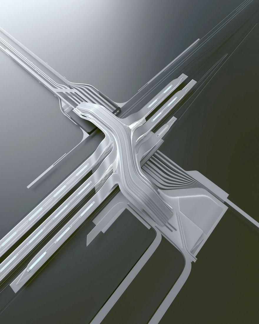 Nueva terminal del ferrocarril de Rail Baltic  por ZHA & Esplan. Cortesía de Zaha Hadid Architects