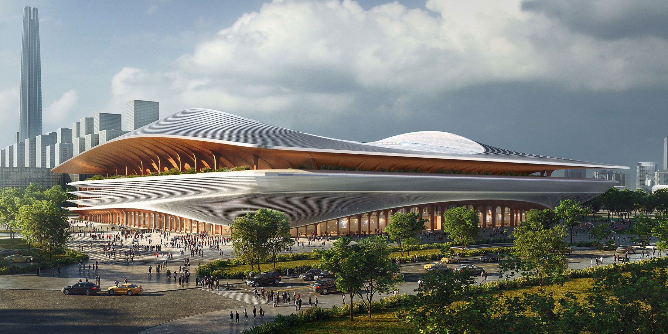 Visualización. Centro internacional de fútbol de Xi'an por Zaha Hadid Architects