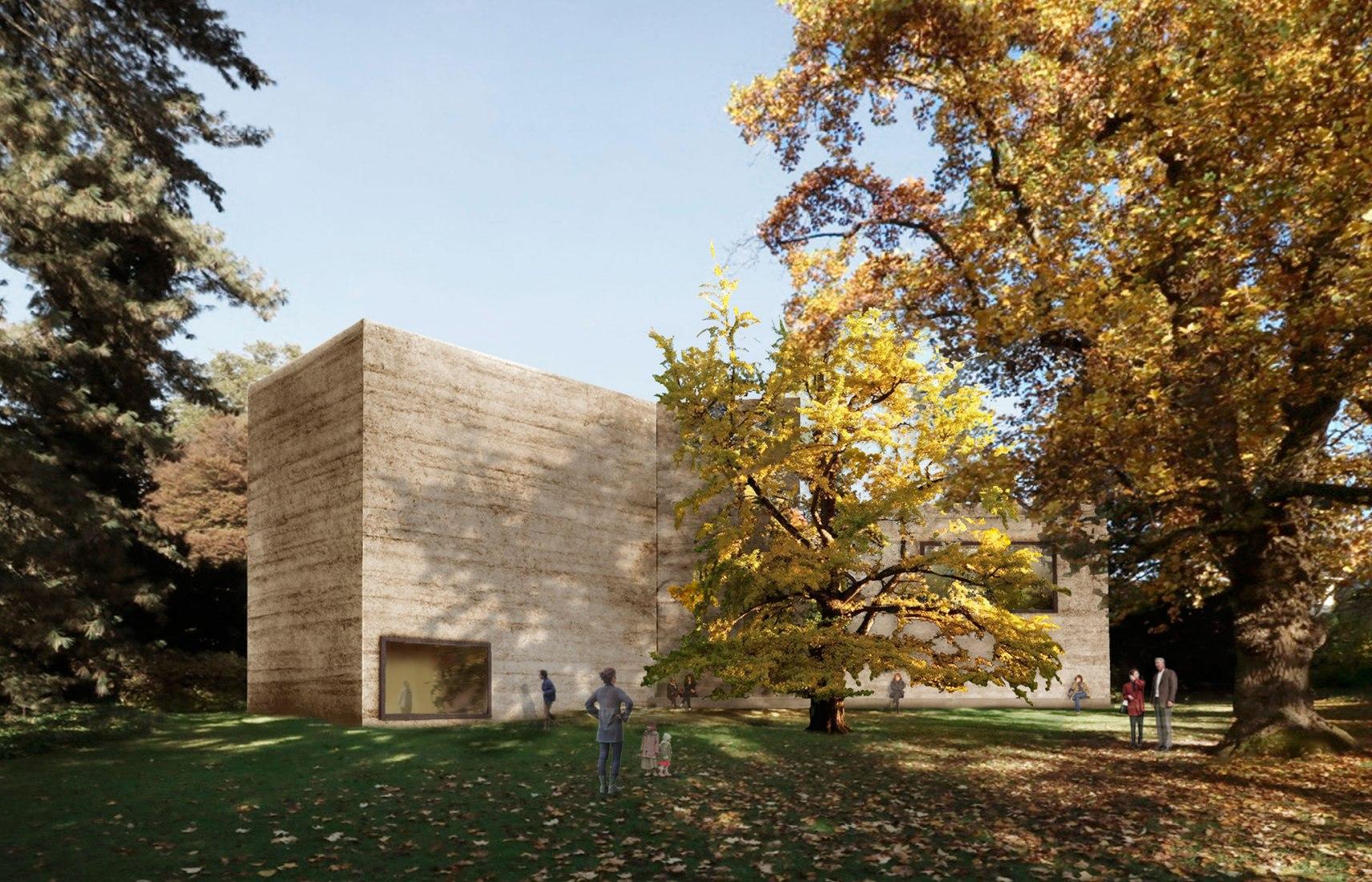 El proyecto de ampliación de la Fundación Beyeler por el Atelier Peter Zumthor Casa de Arte, Vista desde el Parque Iselin-Weber. Cortesía Atelier Peter Zumthor & Partner, a través de la Fundación Beyeler