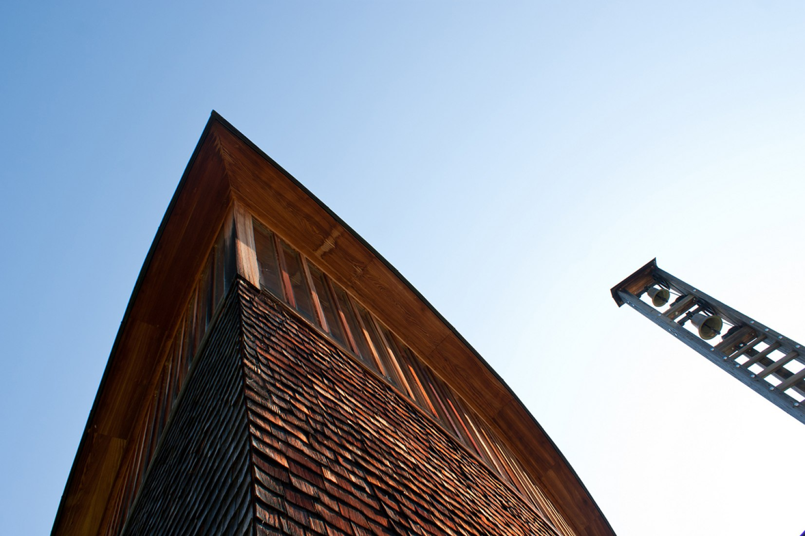 Outside view of Saint Benedict Chapel by Peter Zumthor. Photograph © Felipe Camus.