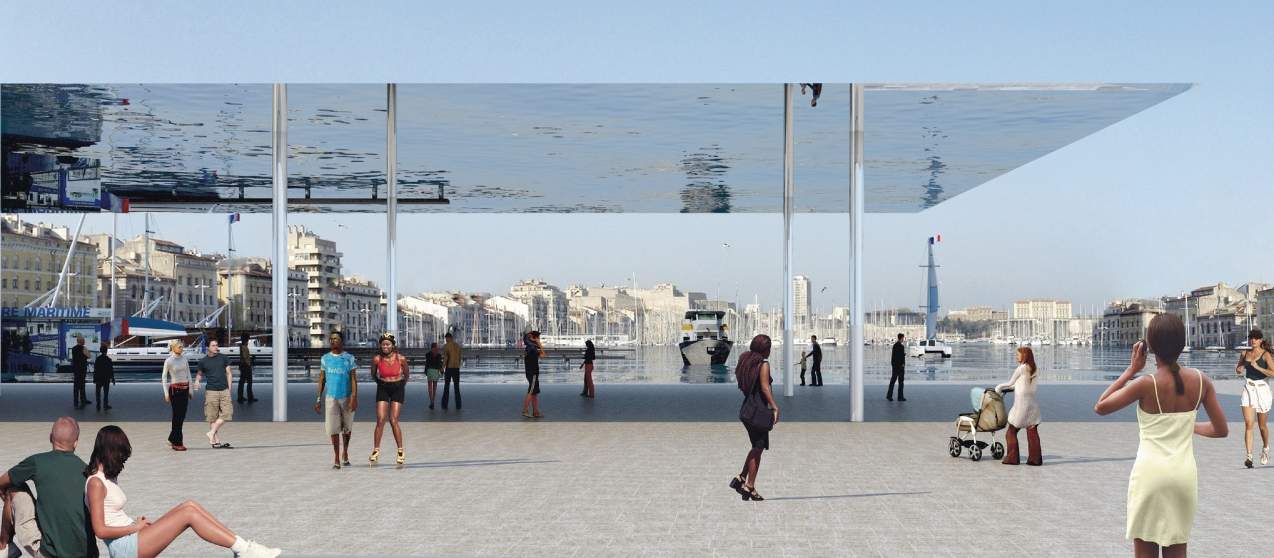 Rendering project. New Vieux Port pavilion by Foster + Partners.