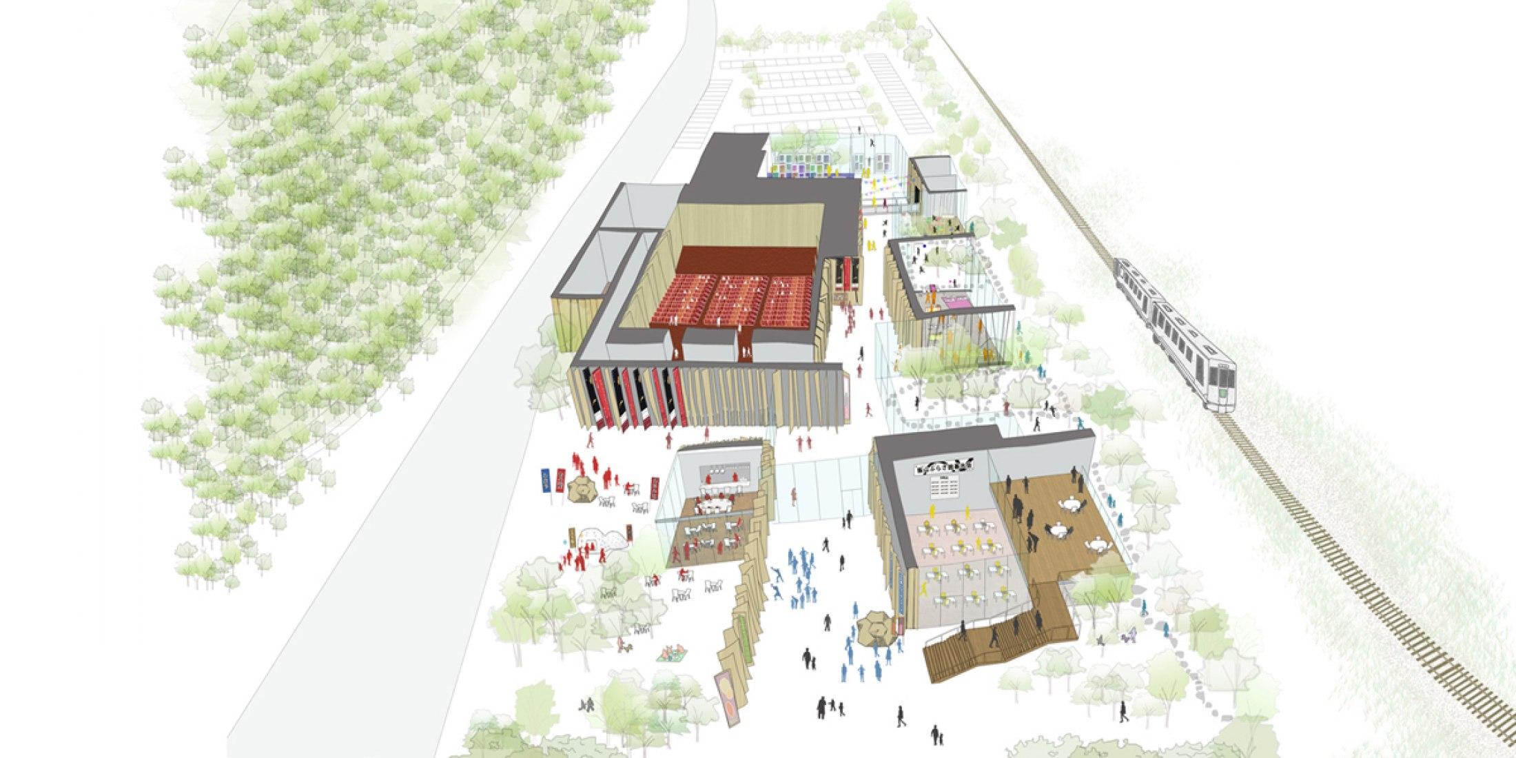 "Early ideas. ""Iiyama Plaza"" by Kengo Kuma & Associates."