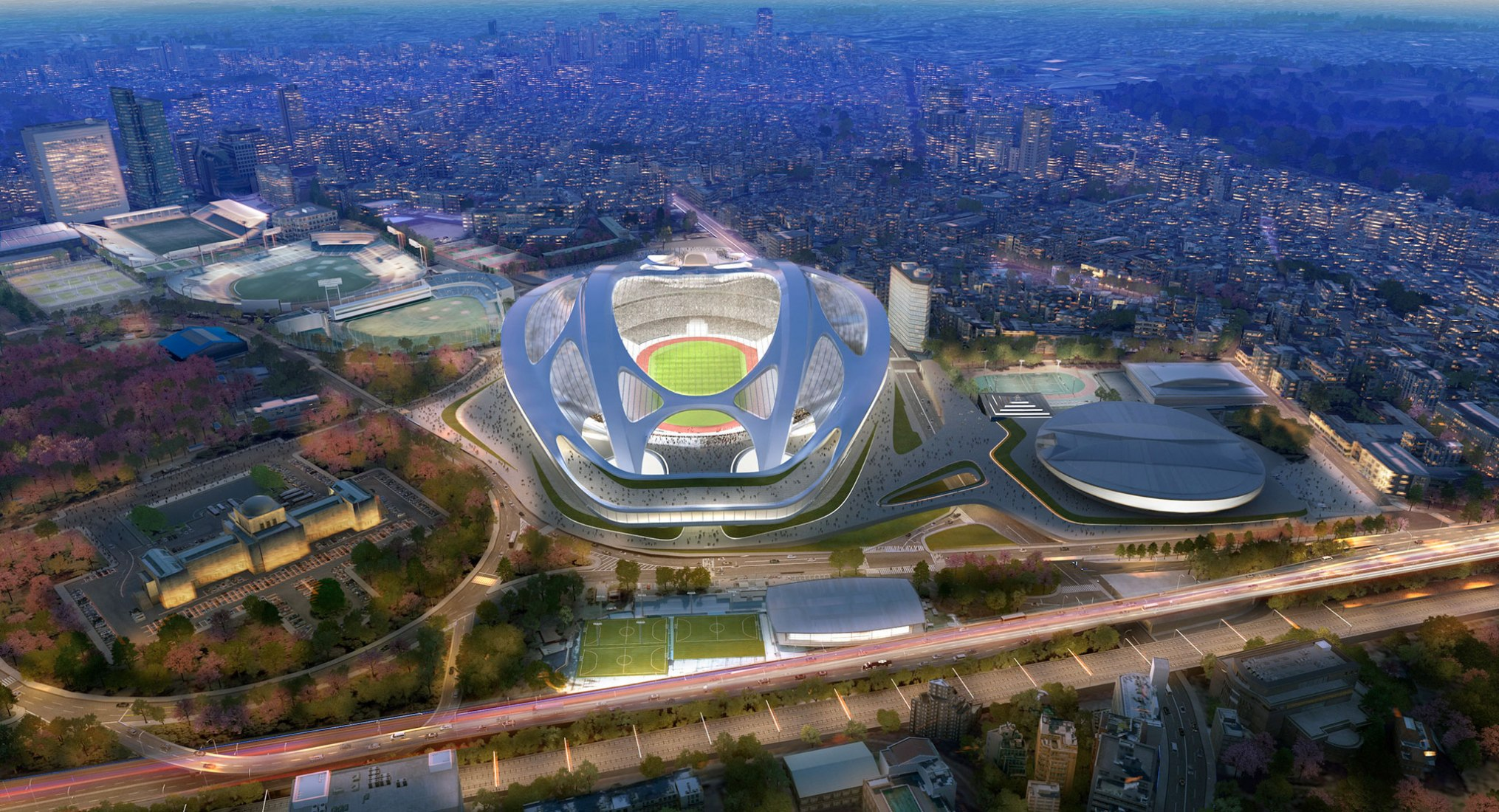 Rendering. New National Stadium by Zaha Hadid.