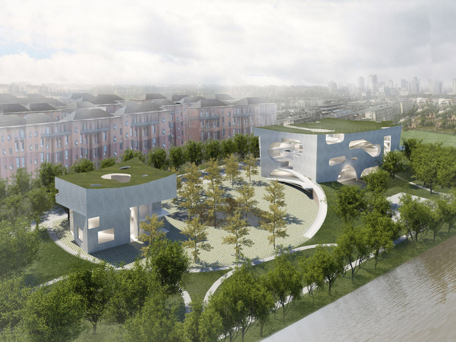 Surrounding view. Cultural and Health Center in Shanghai by Steven Holl Architects. Image Courtesy of Steven Holl Architects.