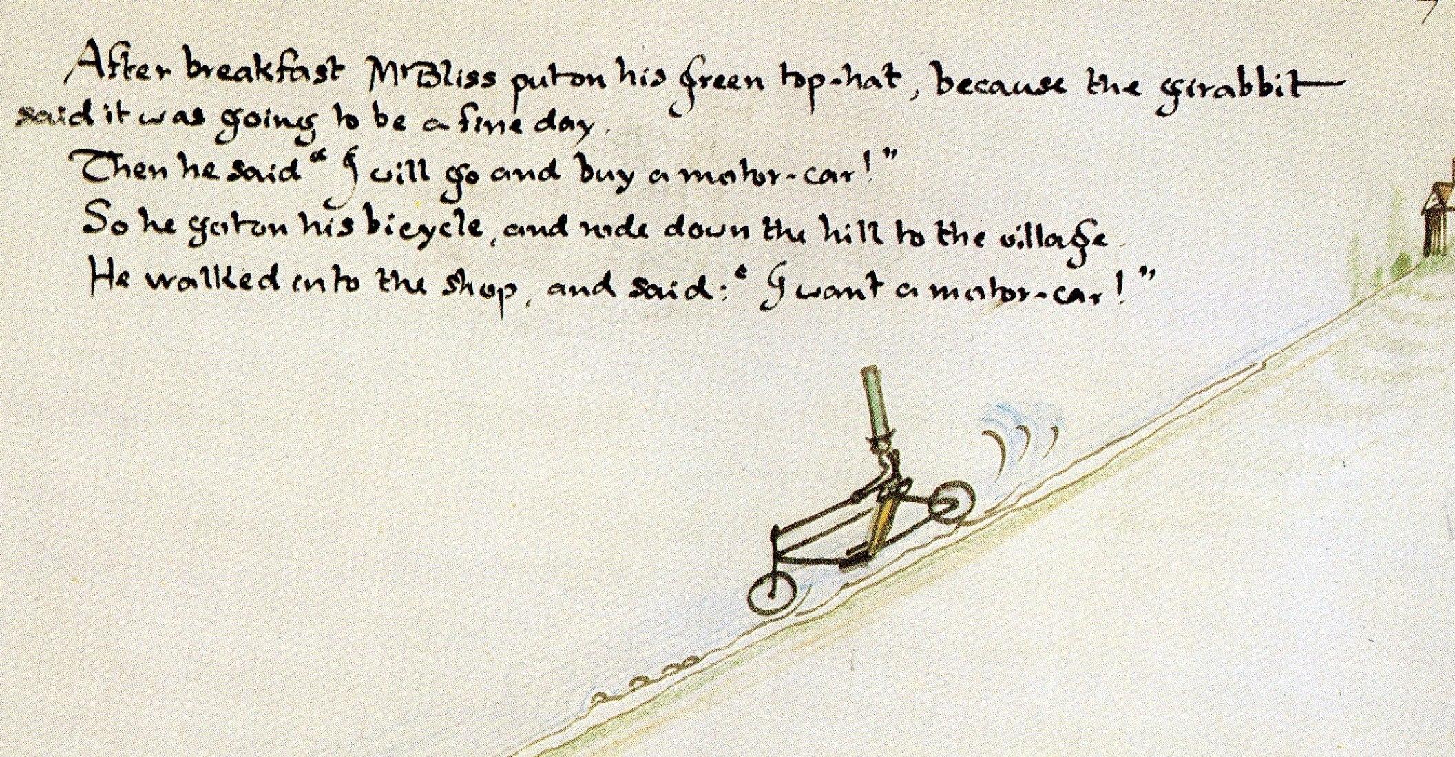 """Ilustración por J.R.R. Tolkien en """"Mr. Bliss"""""""