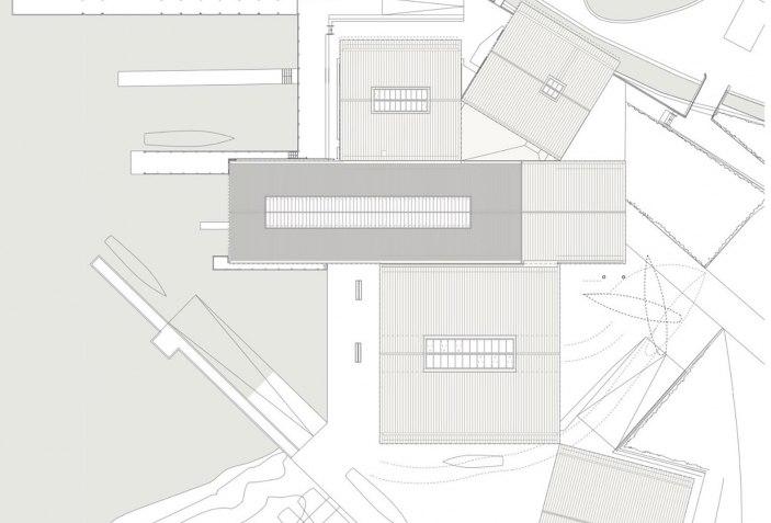 Granular ensemble of small buildings. Windermere Jetty ...